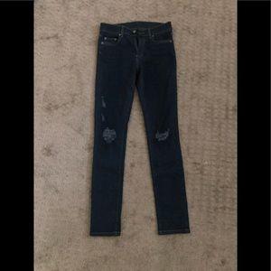 Carmar distressed dark wash skinny jean - sz 27